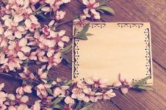 A nota, cartão, escrevendo o pêssego retro floresce em um vintage de madeira Imagens de Stock