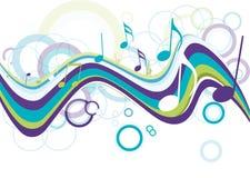 Nota colorida abstrata da música ilustração stock