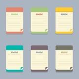 Nota colorida del diseño plano Imágenes de archivo libres de regalías