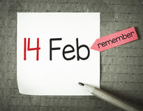 Nota com o 14 de fevereiro Foto de Stock Royalty Free