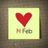 Nota com o 14 de fevereiro Fotografia de Stock