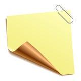 Nota com paper-clip. Vetor. Imagens de Stock