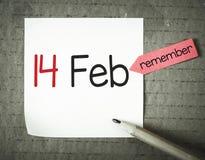 Nota con el 14 de febrero Foto de archivo libre de regalías