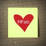 Nota con il 14 febbraio Immagine Stock