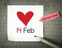 Nota con il 14 febbraio Fotografia Stock