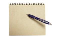 Nota con la penna blu Fotografie Stock Libere da Diritti
