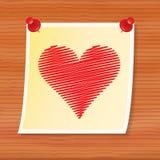 Nota con la tarjeta del día de San Valentín Foto de archivo