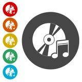 Nota con los iconos del disco fijados stock de ilustración