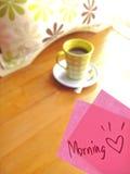 Nota cor-de-rosa do café e do litte Foto de Stock Royalty Free