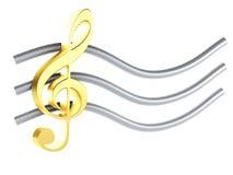 Nota 3D da música No fundo branco Fotografia de Stock
