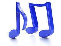 Nota 3D da música No fundo branco Fotos de Stock Royalty Free