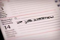 Nota da entrevista de trabalho Imagens de Stock