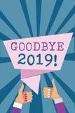 Nota da escrita que mostra adeus 2019 Foto do negócio que apresenta a transição de Eve Milestone Last Month Celebration do ano no ilustração royalty free