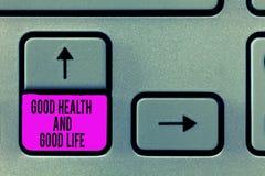 Nota da escrita que mostra a boa saúde e a boa vida A saúde apresentando da foto do negócio é um recurso para viver uma vida comp fotos de stock
