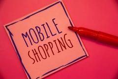 Nota da escrita que mostra a compra móvel Compra tecnologico de compra apresentando dos produtos da foto do negócio em linha idei Foto de Stock