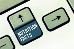 Nota da escrita que mostra fatos da nutrição Informações detalhadas apresentando da foto do negócio sobre os nutrientes do alimen fotos de stock