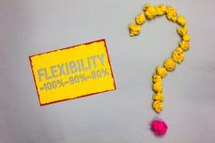 Nota da escrita que mostra a flexibilidade 100 90 80 Apresentar da foto do negócio quanto flexível você é yel limitado vermelho n fotografia de stock