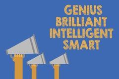 Nota da escrita que mostra a gênio Smart inteligente brilhante A foto do negócio que apresenta as mãos brilhantes inteligentes da ilustração do vetor