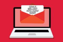 Nota da escrita que mostra a gênio Smart inteligente brilhante Foto do negócio que apresenta o computador brilhante inteligente r ilustração stock