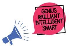 Nota da escrita que mostra a gênio Smart inteligente brilhante Foto do negócio que apresenta o megafone brilhante inteligente da  ilustração do vetor