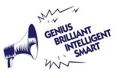 Nota da escrita que mostra a gênio Smart inteligente brilhante Foto do negócio que apresenta o megap brilhante inteligente do azu ilustração stock