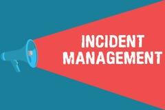 Nota da escrita que mostra a gestão do incidente Processo apresentando da foto do negócio para retornar o serviço aos perigos cor ilustração stock