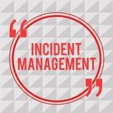 Nota da escrita que mostra a gestão do incidente Processo apresentando da foto do negócio para retornar o serviço aos perigos cor ilustração royalty free