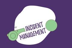 Nota da escrita que mostra a gestão do incidente Processo apresentando da foto do negócio para retornar o serviço aos perigos cor ilustração do vetor