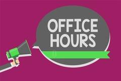 Nota da escrita que mostra horas de escritório Foto do negócio que apresenta as horas que o negócio é normalmente holdi conduzido ilustração stock