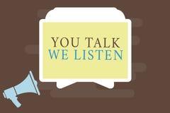Nota da escrita que mostra lhe a conversa nós escutamos Foto do negócio que apresenta a conversação inspirador de uma comunicação ilustração do vetor