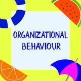 Nota da escrita que mostra o comportamento de organização A foto do negócio que apresenta o estudo dos povos da maneira interage  ilustração stock