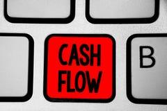 Nota da escrita que mostra o fluxo de caixa Movimento apresentando da foto do negócio do dinheiro em e para fora de afetar o verm fotografia de stock