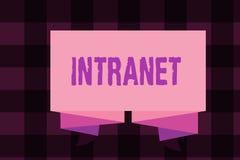 Nota da escrita que mostra o intranet Foto do negócio que apresenta a rede de comunicações local ou restrita especialmente privad ilustração stock