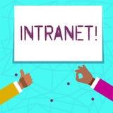 Nota da escrita que mostra o intranet A rede privada apresentando da foto do negócio de uma empresa ligou redes locais ilustração stock