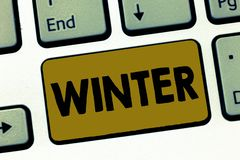 Nota da escrita que mostra o inverno Estação a mais fria apresentando da foto do negócio do ano no hemisfério Norte dezembro a ilustração royalty free