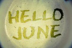 Nota da escrita que mostra o olá! junho As fotos do negócio que apresentam começando uma mensagem nova maio do mês estão sobre a  Foto de Stock