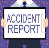 Nota da escrita que mostra o relatório de acidente Foto do negócio que apresenta o formulário de A que é detalhes completados do  ilustração stock