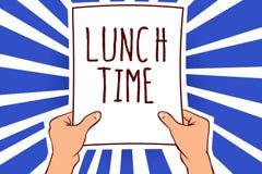 Nota da escrita que mostra o tempo do almoço Refeição apresentando da foto do negócio no meio do dia após o café da manhã e antes ilustração do vetor