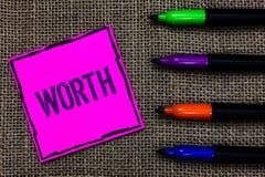 Nota da escrita que mostra o valor Medida apresentando da foto do negócio das penas de marcador pessoais e financeiras AR da impo imagem de stock royalty free