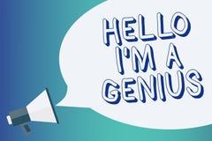 Nota da escrita que mostra a olá! eu sou um gênio Apresentar da foto do negócio introduz-se como sobre a pessoa média a outro Ann ilustração royalty free