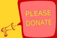 A nota da escrita que mostra por favor doa A fonte apresentando da foto do negócio fornece distribui contribui Grant Aid ao lo do ilustração do vetor