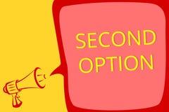 Nota da escrita que mostra a segunda opção Foto Fiddle Not seguinte apresentando do negócio um lo alternativo seguinte do megafon ilustração stock