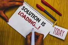 A nota da escrita que mostra a solução está carregando O pensamento apresentando da foto do negócio da maneira de resolver proble foto de stock royalty free