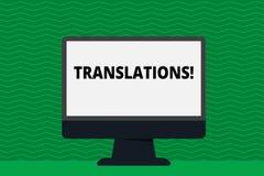 Nota da escrita que mostra traduções A foto do negócio que apresenta o processo escrito ou impresso de tradução exprime a voz do  ilustração do vetor