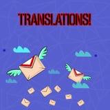 Nota da escrita que mostra tradu??es A foto do neg?cio que apresenta o processo escrito ou impresso de tradu??o exprime a voz do  ilustração stock