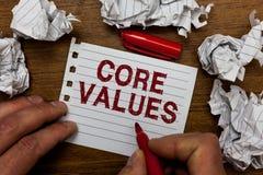 Nota da escrita que mostra valores do núcleo Pessoa apresentando da opinião da foto do negócio ou opiniões da organização como se fotografia de stock