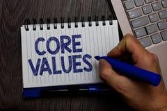 Nota da escrita que mostra valores do núcleo Pessoa apresentando da opinião da foto do negócio ou opiniões da organização como se foto de stock