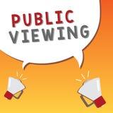 Nota da escrita que mostra a visão pública Apresentar da foto do negócio capaz de ser visto ou sabido por todos aberto à vista ge ilustração stock