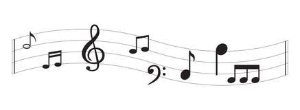 Nota da música com símbolos Fotos de Stock Royalty Free