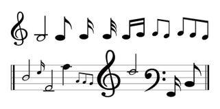 Nota da música com símbolos de música Fotos de Stock Royalty Free